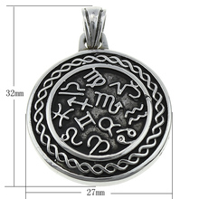 Stainless Steel Constellation Pendant,Designer Jewelry 2014, 316L Stainless Steel, Flat Round, with zodiac pattern & blacken(China)