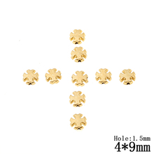 Wholesale Approx.250Pcs/lot 4*9MM Plastic Gold Color Cross Beads Loose Spacer Beads For DIY Jewelry Accessories