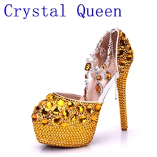 Crystal Queen Women High Heels Prom Wedding Shoes Lady Crystal Platforms Gold Glitter Rhinestone Bridal Shoes Thin Heel Sandals(China)