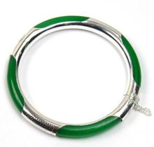 Genuine Dark Green stone Silver Hinged Bangle Bracelet^^@ SHIPPING
