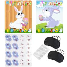 Happy Easter Pin The Tail On The Bunny Game With 2pcs Bunny Poster & 2-Type Tail & 2pcs Eye Patch & 8pcs Sticker(China)