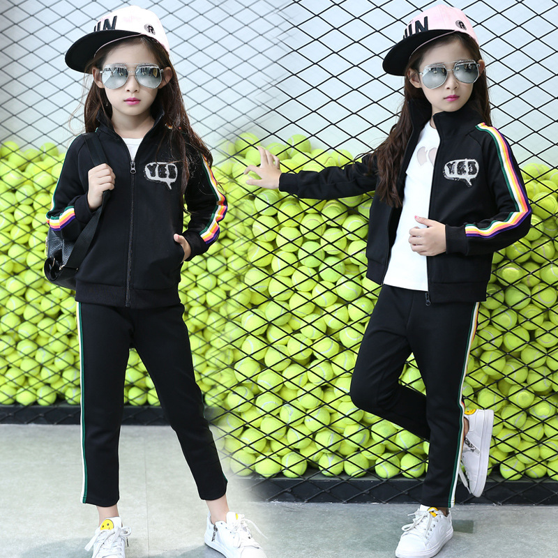 Primary Middle School Students New Suit Children Autumn Girls Black Decal Sport Two Pieces Kids Clothing Sets Black<br>