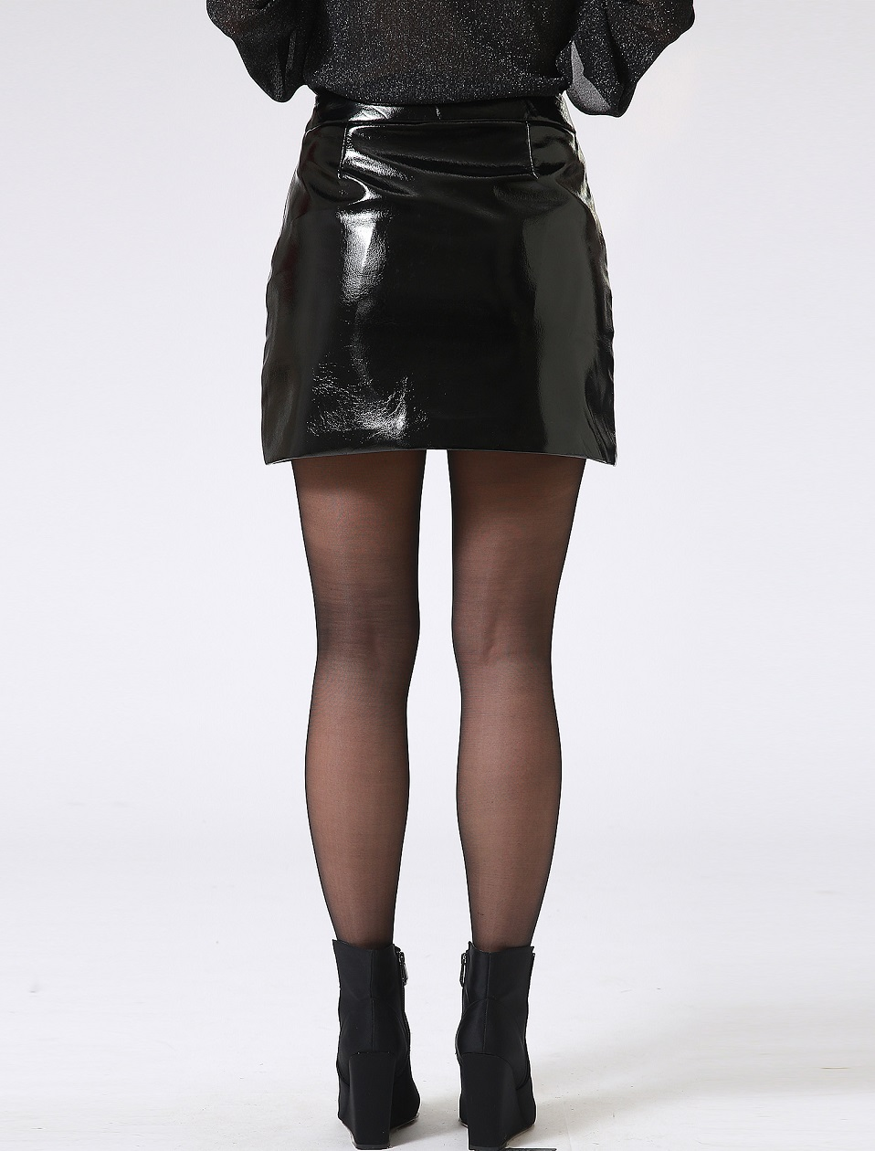 Autumn Winter Women Sexy Mini Skirt Black faux Patent Leather Female Short Pencil Skirt Zipper Fashion Streetwear Skirts Talever 8