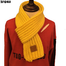 Buy ZFQHJJ 2017 Boy Girl Baby Kids Winter Solid Color Scarf Warm Knitting Wool Scarf Children Neck Warmer Scarves Leather label for $3.92 in AliExpress store