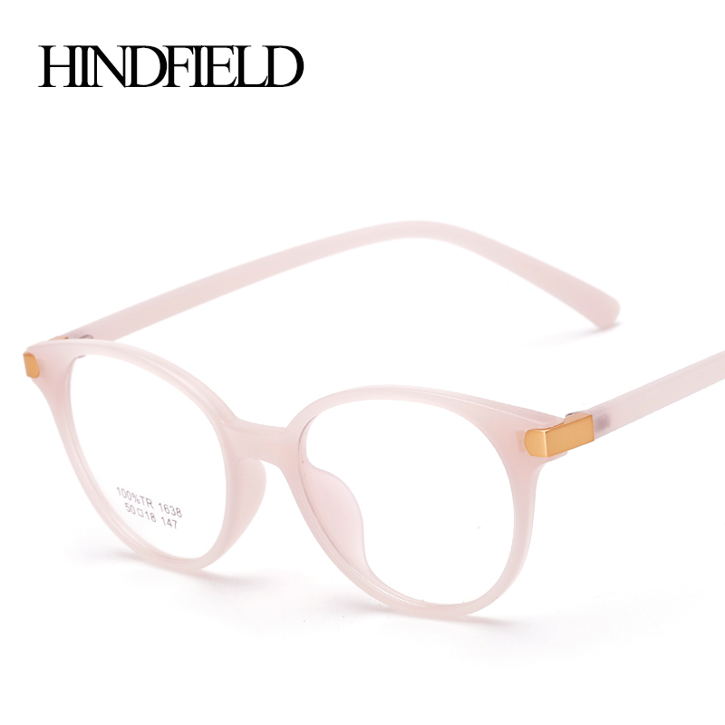 HINDFIELD Vintage TR90 Round Pink Glasses Frame Women Luxury Brand Designer Optical Eyeglasses Frame Clearcomputer glasses(China (Mainland))