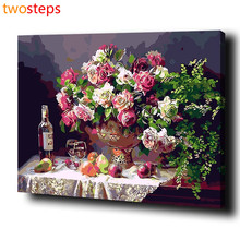 TwoSteps DIY Digital Canvas Oil Painting By Numbers Coloring By Numbers Modern Large Acrylic Paint By Number Kits Rose Date Set