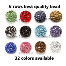 2000pcs/lot DHL Free! 10mm 6 Rows Top Best Quality Micro Crystal Pave Shamballa Bead Spacer For Jewerly Making,Can Pick Color