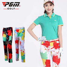 Brand Newest Multicolor Lady Printed Pants High Quality Women Golf Trousers Apparel Tennis Sport Pant Clothes not fade(China)