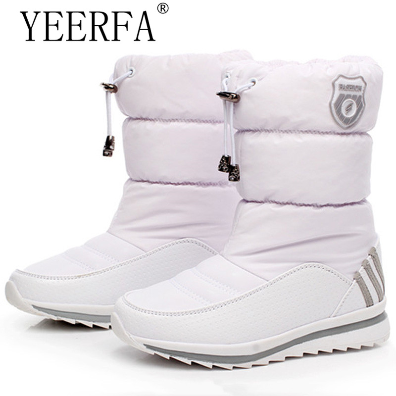 YIERFA Women snow boots 2017 new arrival warm plush winter shoes women platform shoes waterproof non-slip mid-calf boots <br>