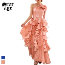 L-XXXL Brand Elegant Ladies Sequined Ruffle Sleeveless Flamenco Dance Dress Women Formal Dress Maxi Long Party Dress 9723(China)