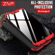 ZNP Luxury 360 Degree Full Protection Case For iphone 6 6s Plus Cover Case For iphone 6 6s Change X phone shell Capa Couqe(China)