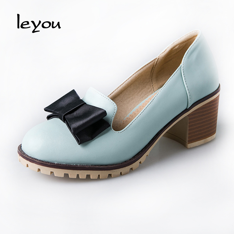 New Sweet Low Heel Shoes Princess Style Bowtie Women Shoes Thick Heel Round Toe Lady Cute Pumps Leisure Slip On Shoes<br><br>Aliexpress