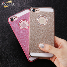 KISSCASE Slim Case For iPhone 4 4S 5 5s SE 6 6S 6 Plus 6S Plus 7 7 Plus Luxury Bling Diamond Case Hard Back Cover With LOGO Hole