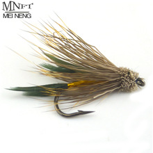 MNFT 10PCS 6# Brown Color Deer Hair Gold Body Muddler Minnow Fly Bass Fishing Lure Steamers Trout Streamer Flies