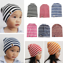 6 Colors Newborn Hat Striped Cap 1-3 Years Old Baby Winter Hat Cap Knitted Warm Cotton Baby Bonnet Kids Girl Boy Print Hats(China)