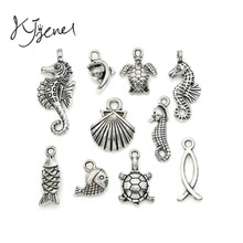 Mixed Tibetan Silver Plated Ocean Dolphin Hippocampus Penguin Shell Charms Pendant Jewelry Making Diy Charm Handmade Crafts c019(China)