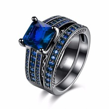 Creative ring two parts composed of blue square zircon classical style lady retro ring exquisite gift(China)