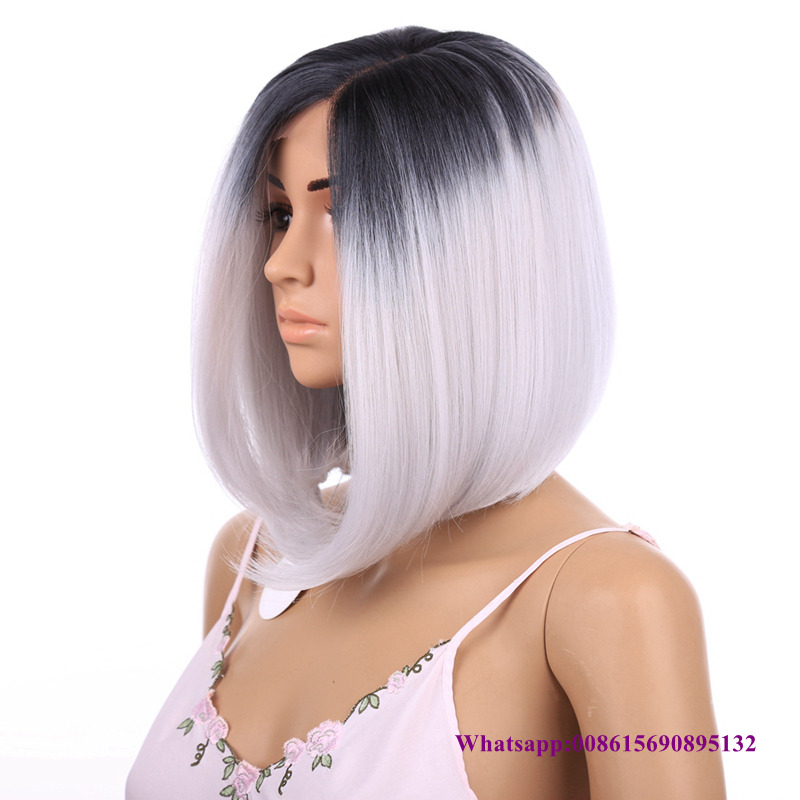 Synthetic hair Short Straight Grey Bob wig Ombre Lace Front hand tied Beyonce Glueless kanekalon hair wig For Black Women<br><br>Aliexpress