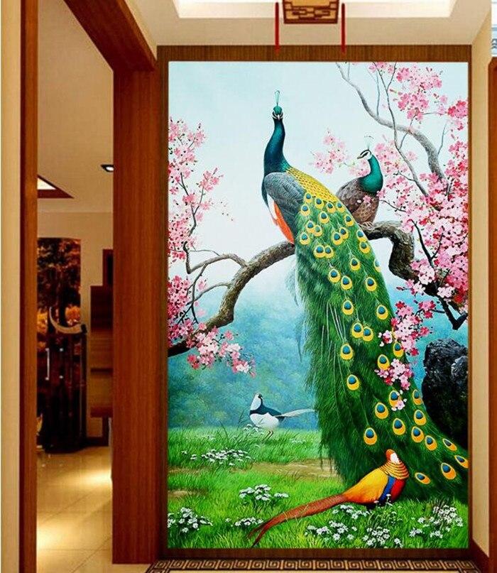 Custom 3D murals,The Colorful Peacock bird entrance papel de parede,hotel restaurant living room sofa TV wall bedroom wallpaper <br>