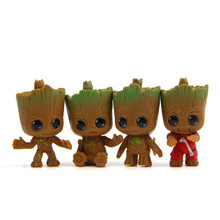 4pcs/set New Cute Brinquedos Guardians Of The Galaxy Mini Cute Groot Baby Tree Model Action And Toy Figures Cartoon Cake Doll(China)
