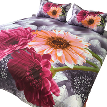 Svetanya 3D Bedclothes sunflower Printed 4pc Bedding Set Polyester Bed Linens Queen Full Europe Size(China)