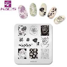 KADS Charming Rose Nail Art Stamp Template Image Plate Nail Stamping Plate Flower Stencil Nails Tool(China)