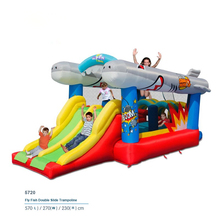New Flying fish Double Slide Bounce house inflatable trampoline jumping castle bouncer jumper indoor outdoor playground for kids