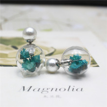 2016 new double imitation pearl earrings handmade fashion personality temperament fresh daisy dried flowers earrings glass bead(China)