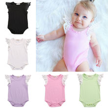 Cotton Newborn Baby Girls Romper Toddler Lace Shoulder Sleeveless Jumper Romper Jumpsuit Baby Summer Clothes(China)