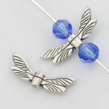 Dragonfly Wing Charm Beads Spacers Jewelry Findings L080 31pcs 19.8x7.5mm Antique Silver