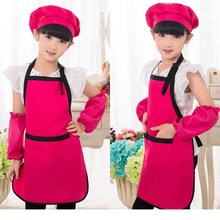 0.99 Seckill,Polyester Apron Kitchen Chef Cooking Children Kids Plain Baking Painting Craft Adjustable Art Bib Random Color