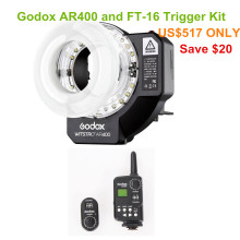 Godox Witstro AR400 400W Li-ion Battery professional macro LED Ring Flash Speedlite with light stand + FT-16 trigger kit