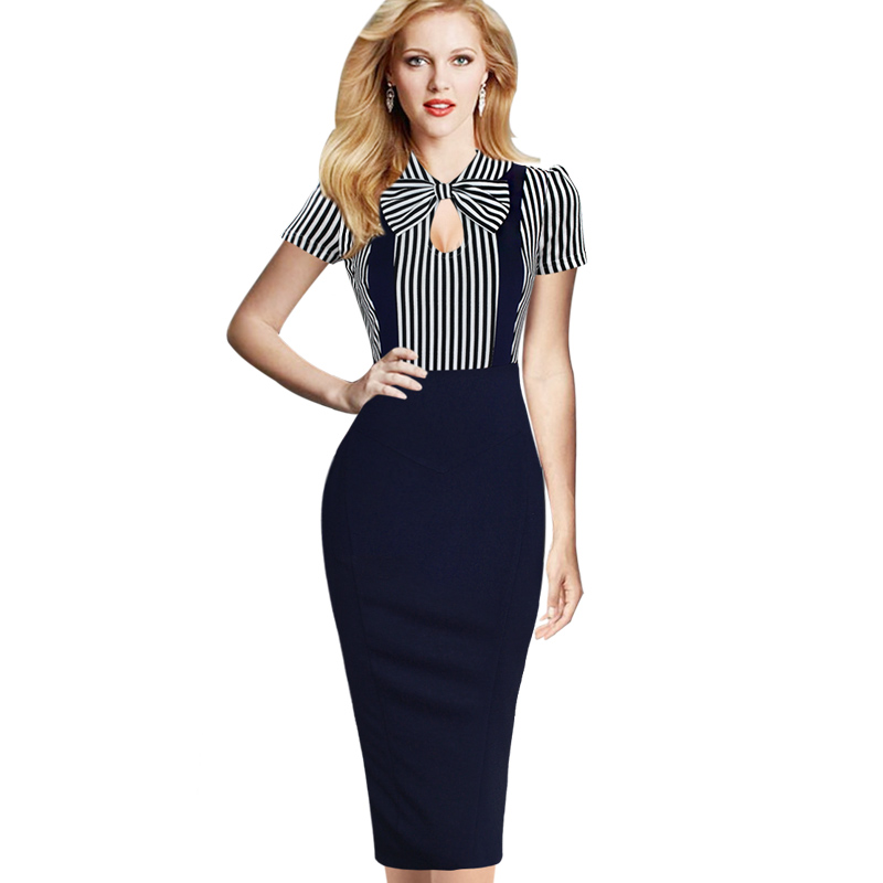 Vfemage Women Vintage Keyhole Bow Tie Faux Twinset Contrast Straps Striped Pocket Wear to Work Casual Party Sheath Dress 1610(China)