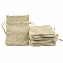 7*9cm 50pcs/lot Mini natural color sack Plain Faux jute drawstring bag small ring jewelry Wedding gift packaging bag