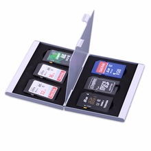 Silver SD Card Card Storage Aluminum Memory Card Storage Box Holders Micro Memory Case Protector
