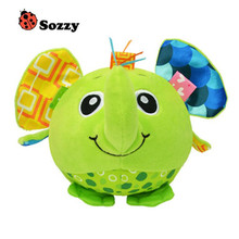 Baby animal model ball cartoon baby plush ball toys colorful soft ball toy educational hand grasp ball with cheap price(China)