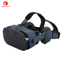 New Design Virtual Reality 3D VR Box With Headphone For 4.0-6.3 inch Smartphones, Free Shipping
