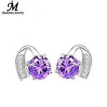 2016 High Quality Starry Luxury Purple Crystal Inlay Heart Design Silver stud Earrings Fashion Women Jewelry Brand