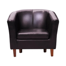Best Leather Tub Chair Armchair for Dining Living Room Office Reception (Brown)