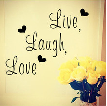 2016 DIY Live Laugh Love Quotes PVC Vinyl Home Decorations Removable Wall Stickers EJ602664