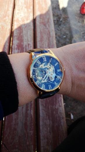 Forsining 3d Logo Design Hollow Engraving Black Gold Case Leather Skeleton Mechanical Watches Men Luxury Brand Heren Horloge 18