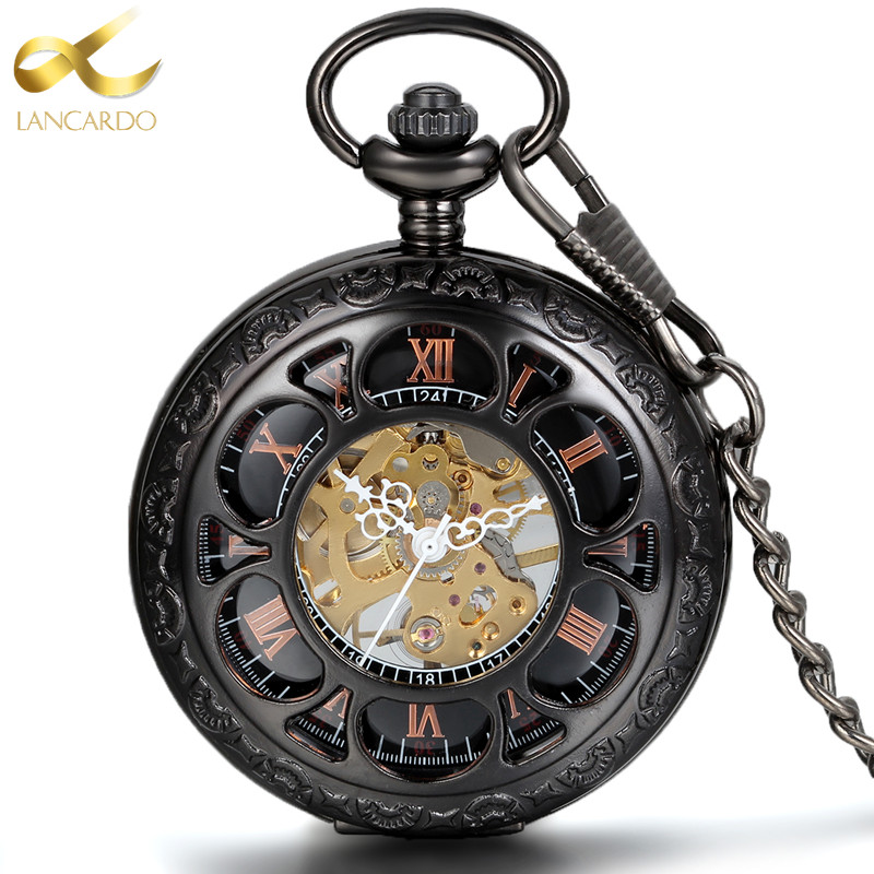 Lancardo Steampunk Men And Women Clock Transparent Mechanical Black See Though Face Retro Ver Vintage Pendant Pocket Watch Gift(China)