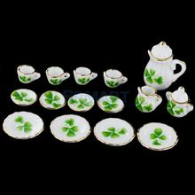 New Arrivals 2015 Dollhouse Miniature Dining Ware Porcelain Tea Set 15pcs White with Clover Free Shipping