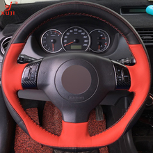 XUJI Red Black Genuine Leather DIY Hand-stitched Car Steering Wheel Cover for Suzuki Swift 2011 2012 2013(China)