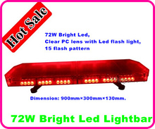 90cm DC12/24V,72W Led warning lightbar,Emergency light bar with controller for plolice ambulance fire,15 flash,waterproof