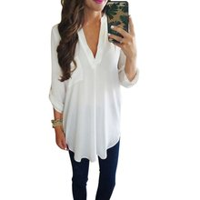 WEIXINBUY 2017 Fashion Women's Loose Three Quarter Sleeve Blouse Casual  V-Neck White Green Blouse Shirt Tops S-3XL K3