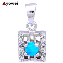 Designers Cost prices Lovely Top quality Blue Fire Opal stamp Silver Pendants for women Fashion jewelry OP324A(China)
