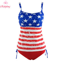 Rubylong Women Swimwear Classice USA Flag Two-Piece Swimsuit Halter Push Up Padded Tankini Sets 2017 Sexy Beach Bathing Suits