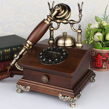 Rotating disk fashion phone household old fashioned antique solid wood telephone(China)