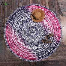 Pawaca Beach Towel Rug Blanket Yoga Mat 150*150cm Polyester Round Print Beach Bath Towel Printed Table Coth Cover Cool Towel